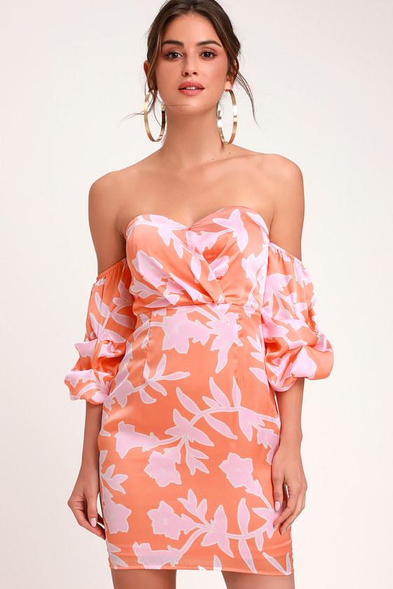 Baros Coral Orange Floral Print Off-the-Shoulder Bodycon Dress - Lulus