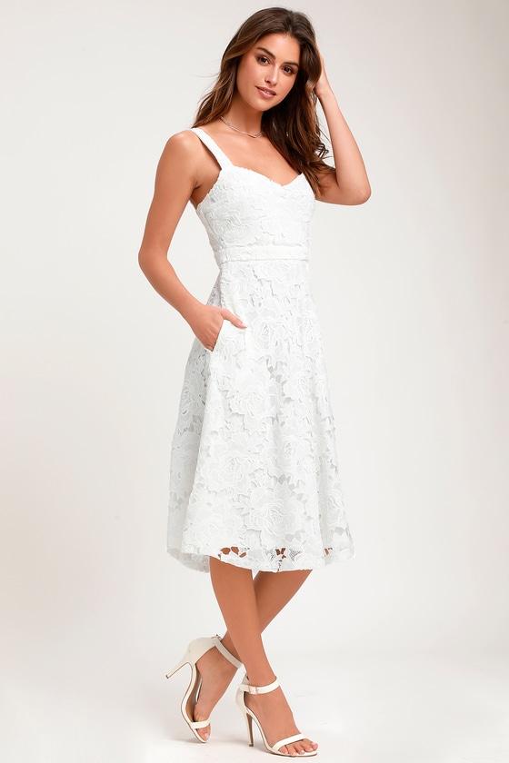 Divine Beauty White Lace Midi Dress