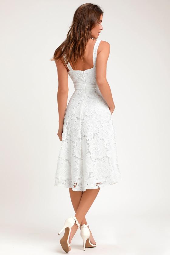 279b6c565886b Cute White Dress - Lace Dress - White Midi Dress - White Dress