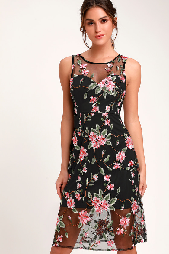 c0374287fac8a Lovely Black Dress - Floral Embroidered Dress - Midi Dress