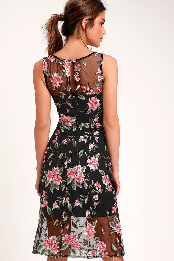 b3f87c43ec7 Lovely Black Dress - Floral Embroidered Dress - Midi Dress