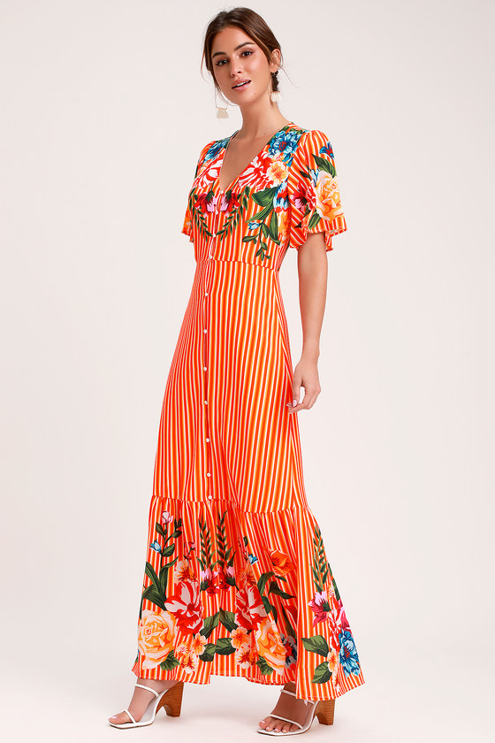 b5e6535843 Cute Orange Multi Dress - Orange Striped Dress - Maxi Dress