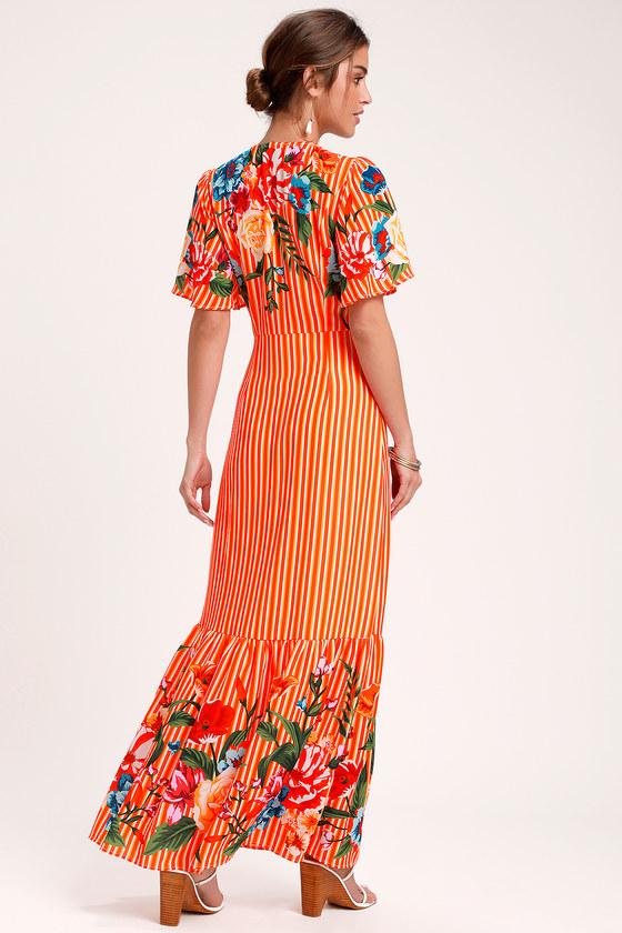 6984a870d32 Cute Orange Multi Dress - Orange Striped Dress - Maxi Dress