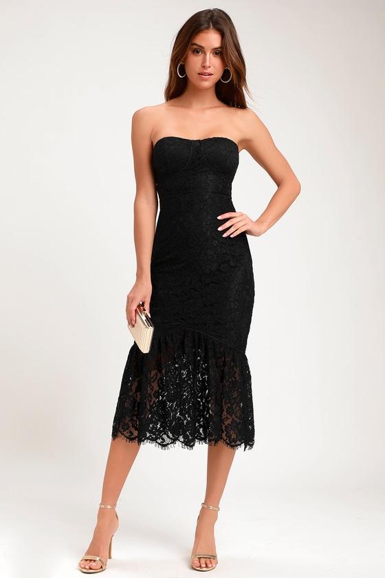 Lovely Black Dress Lace Dress Strapless Lace Dress Lulus