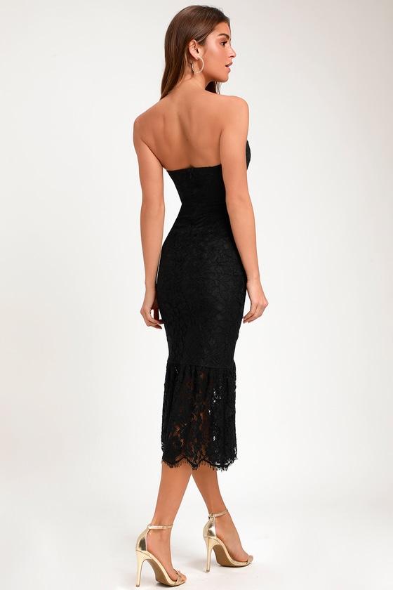 ff6ebc61 Lovely Black Dress - Lace Dress - Strapless Lace Dress