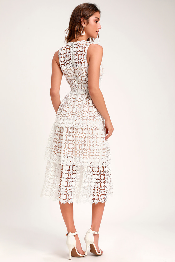 250ae50e3c Lovely White Dress - Crochet Lace Dress - Sleeveless Midi Dress