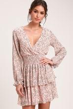 7dda692d309 Chic Rose Dress - Rose Polka Dot Dress - Flounce Sleeve Dress