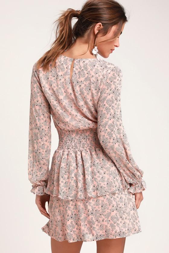 2a0732a9201 Cute Light Pink Floral Print Dress - Long Sleeve Dress - Dress
