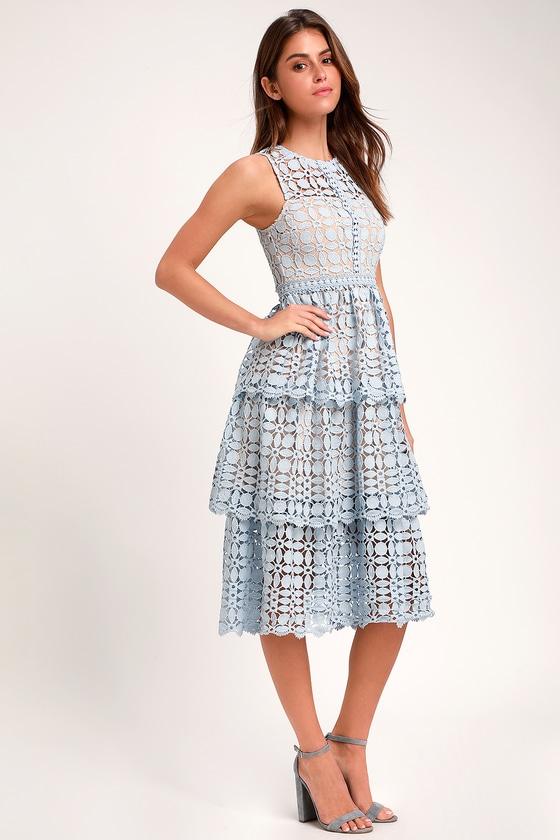 Larissa Light Blue Crochet Lace Sleeveless Midi Dress