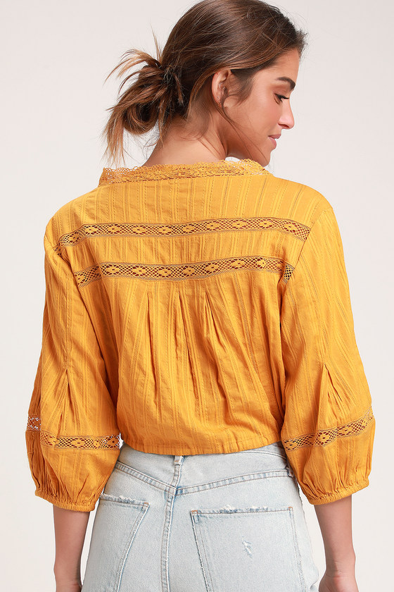 5a3ee09da0d9e6 Free People Follow Your Heart - Yellow Embroidered Crop Top