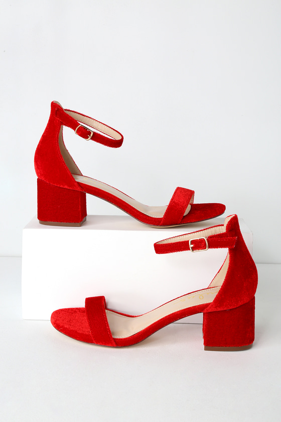 d54ba9040bdd Chic Red Velvet Heels - Velvet Ankle Strap Heels - Block Heels