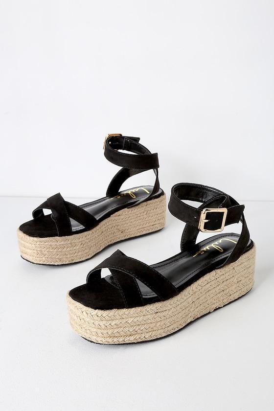 20661e4f343e3 Cobi Black Suede Espadrille Platform Sandals