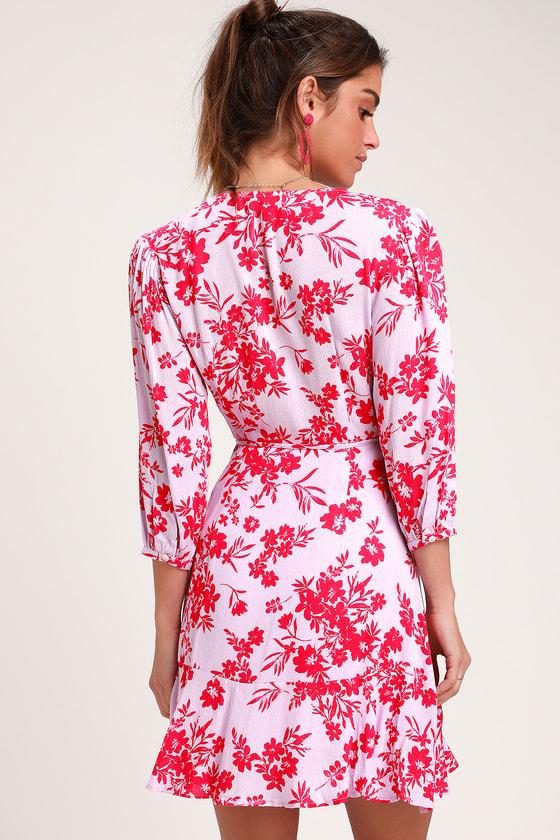 90591157a8c Cute Light Pink Dress - Floral Print Dress - Mini Wrap Dress