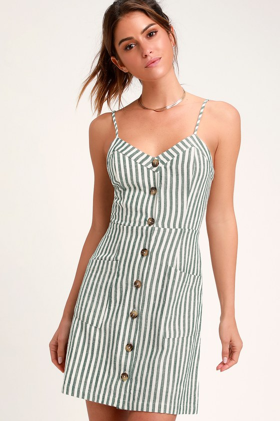 On the Pier Green and White Striped Button Front Mini Dress