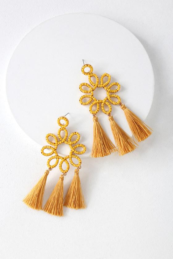 Beckon and On Mustard Yellow Beaded Tassel Earrings - Lulus