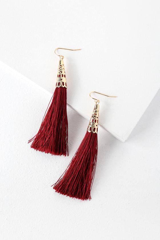 2d54895050ad11 Chic Burgundy Earrings - Tassel Earrings - Fringe Earrings