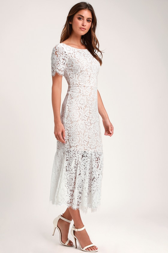 Vintage Inspired Wedding Dress | Vintage Style Wedding Dresses Love You Tonight White Lace Midi Dress - Lulus $67.00 AT vintagedancer.com