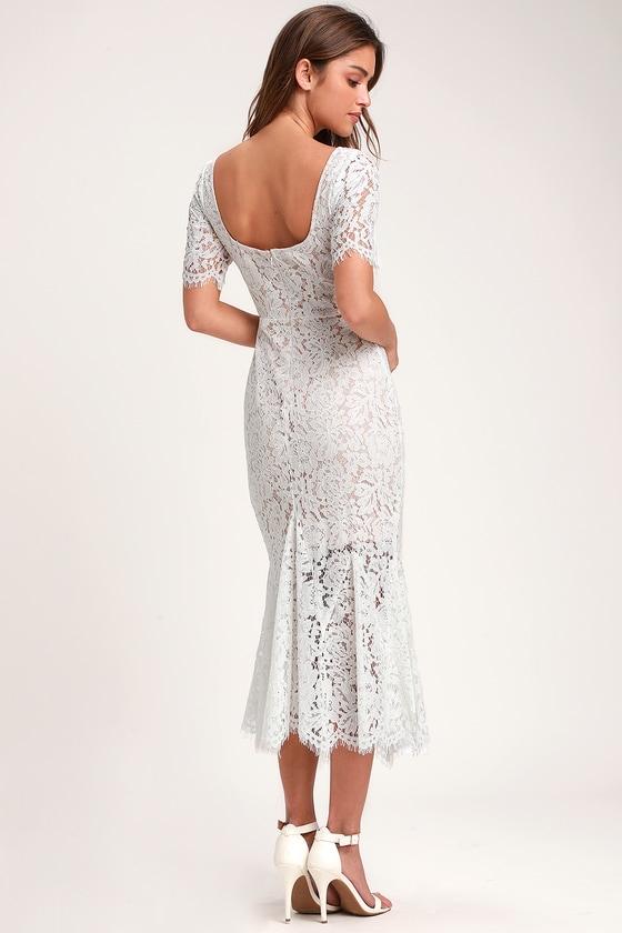 Love You Tonight White Lace Midi Dress
