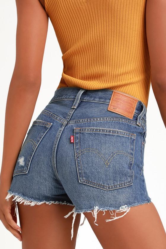 Vintage Shorts, Culottes,  Capris History 501 High Rise Medium Wash Distressed Denim Cutoff Shorts - Lulus $69.50 AT vintagedancer.com