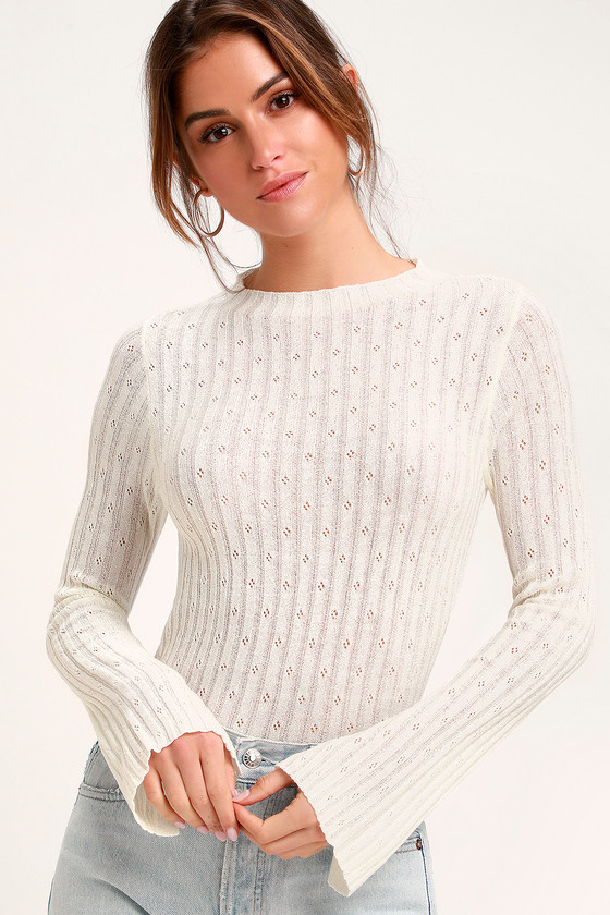 e1f87224af8 Cute White Sweater - Ribbed Knit Top - White Sweater Top
