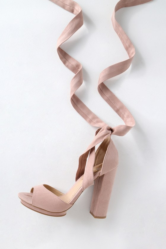 c3cb83b2c97 Lovely Blush Heels - Lace-Up Heels - Vegan Suede Heels