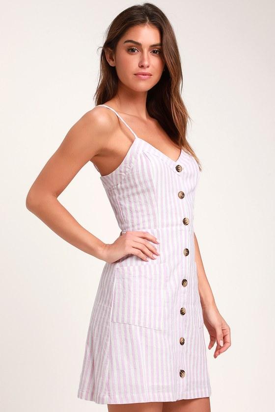 bfe860790b Cute Lavender and White Dress - Striped Dress - Mini Dress