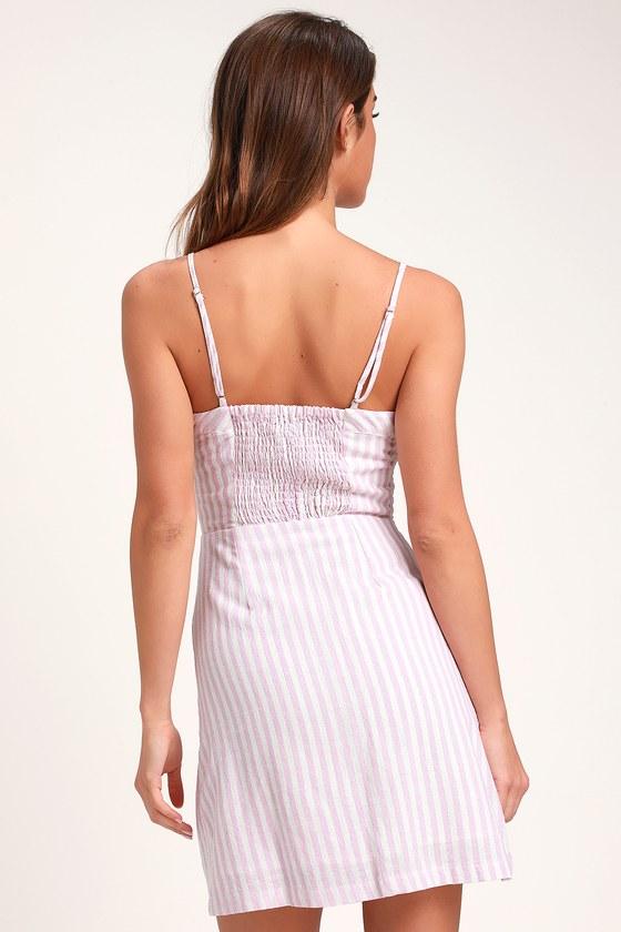 646455e5b573 On the Pier Lavender and White Striped Button Front Mini Dress