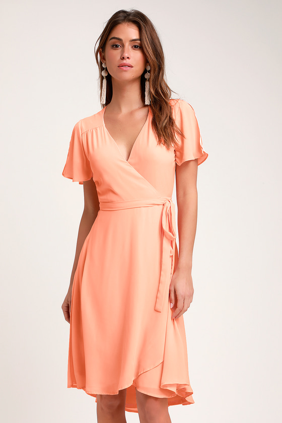 Rise To The Occasion Peach Midi Wrap Dress by Lulus