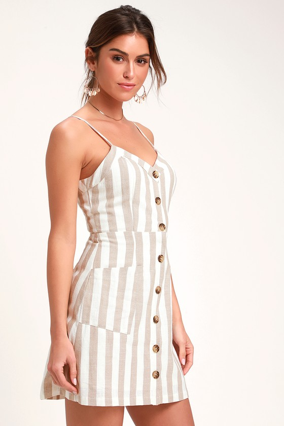 a06b97bcfb97 Cute Tan and White Dress - Striped Dress - Mini Dress