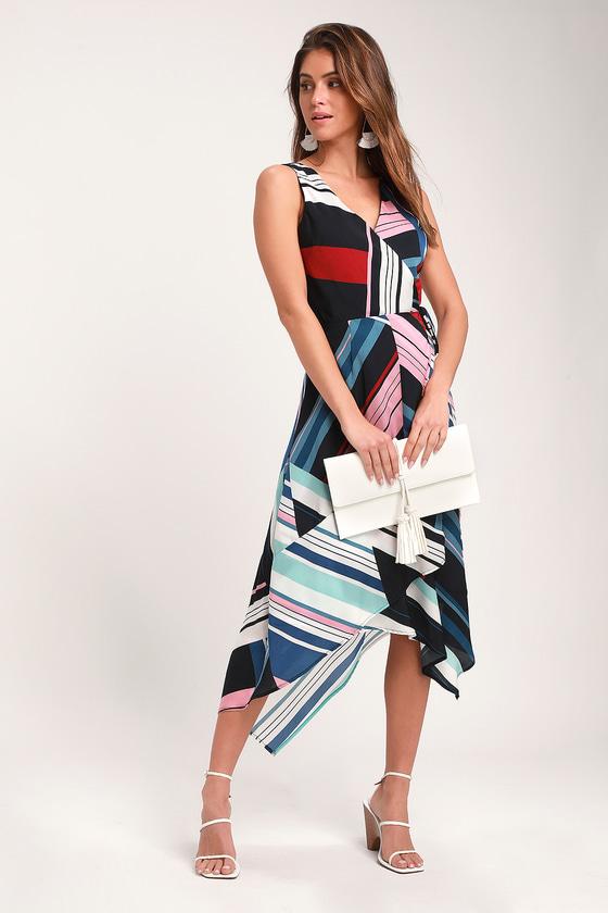 5502cd2e4cc Adelyn Rae Laney - Navy Blue Multi Striped Dress - Wrap Midi