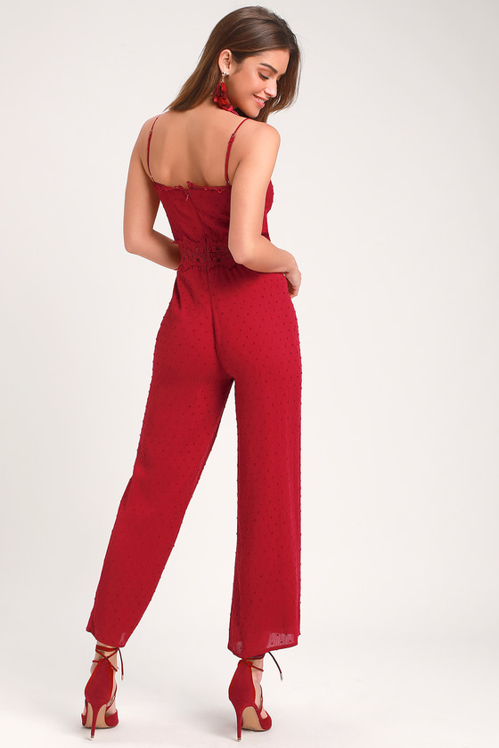 4fc9e2c2d0b8 Wine Red Wide-Leg Jumpsuit - Swiss Dot Jumpsuit - Lace Jumpsuit