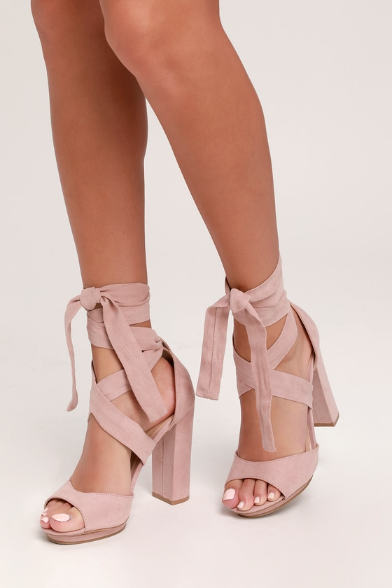 fd1fb1cc485 Lovely Blush Heels - Lace-Up Heels - Vegan Suede Heels