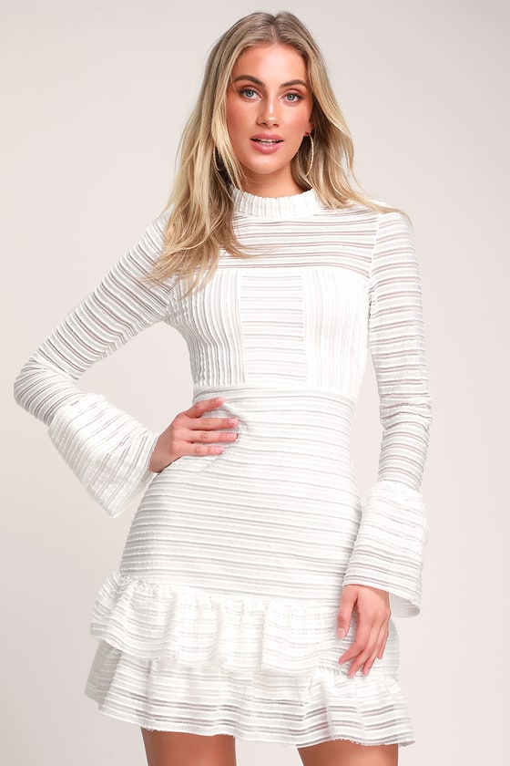 a7f98449fdf Cute White Dress - Ruffled Dress - Long Sleeve Dress - LWD