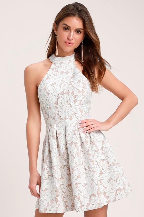 Lovely White Dress - Lace Dress - Halter Dress - Skater Dress 376016b42