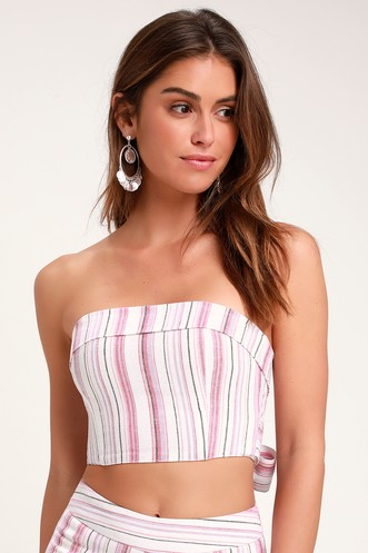 e6ea00cdc5 Daria Pink Striped Tie-Back Strapless Crop Top