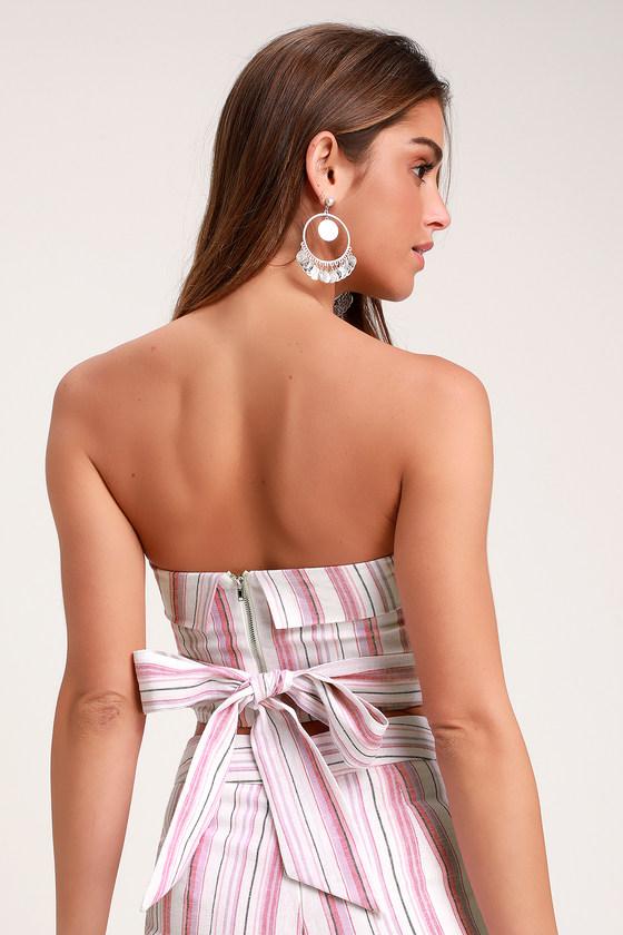 2cddf481ddfb 4SI3NNA Daria - Pink Striped Strapless Crop Top - Tie-Back Top