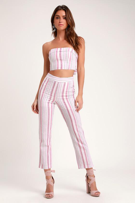 041d0771b3d 4SI3NNA Daria - Pink Striped Pants - Striped Cropped Pants