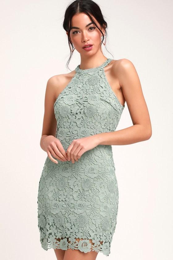 843277bff9038 Lovely Lace Dress - Sage Green Lace Dress - Lace Sleeveless Dress