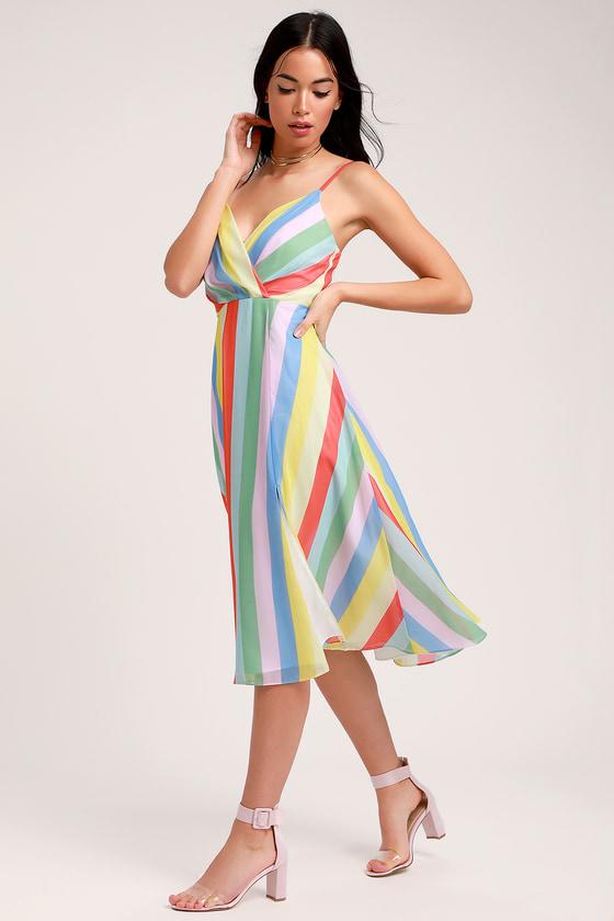 f765704213d6 Cute Rainbow Dress - Striped Dress - Midi Dress - Dress