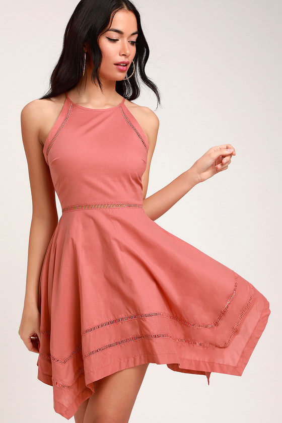 7485757e3cd Pretty Rusty Rose Dress - Skater Dress - Crochet Trim Dress