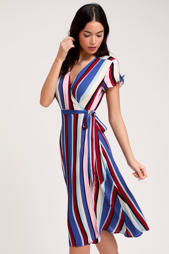 70s Dresses – Disco Dresses, Hippie Dresses, Wrap Dresses Gesselie Blue Multi Stripe Midi Wrap Dress - Lulus $56.00 AT vintagedancer.com