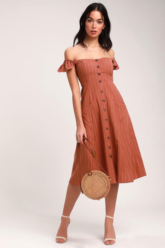 2f8d451ce542 Cute Rusty Rose Striped Dress - Off-the-Shoulder Midi Dress