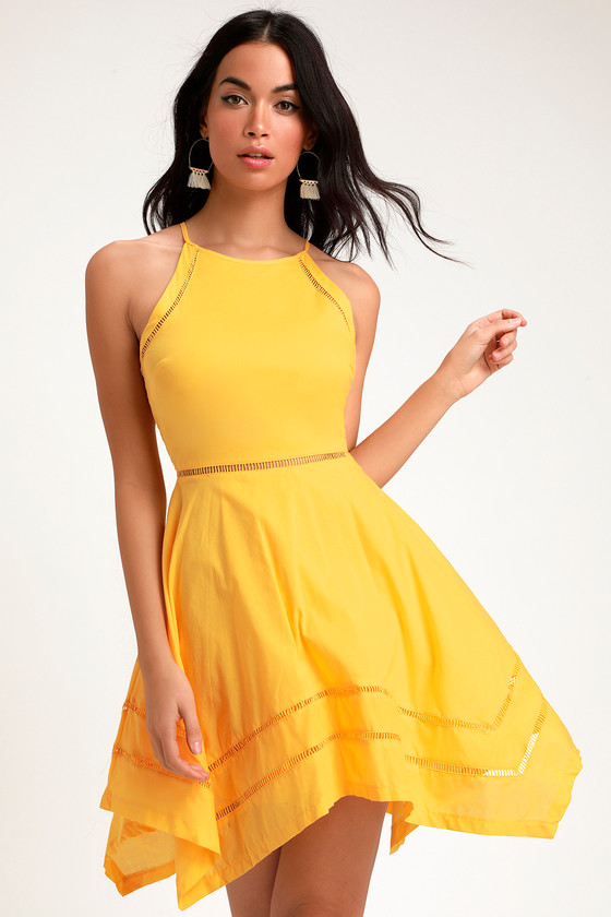 6f7624950cf Pretty Yellow Dress - Yellow Skater Dress - Crochet Trim Dress