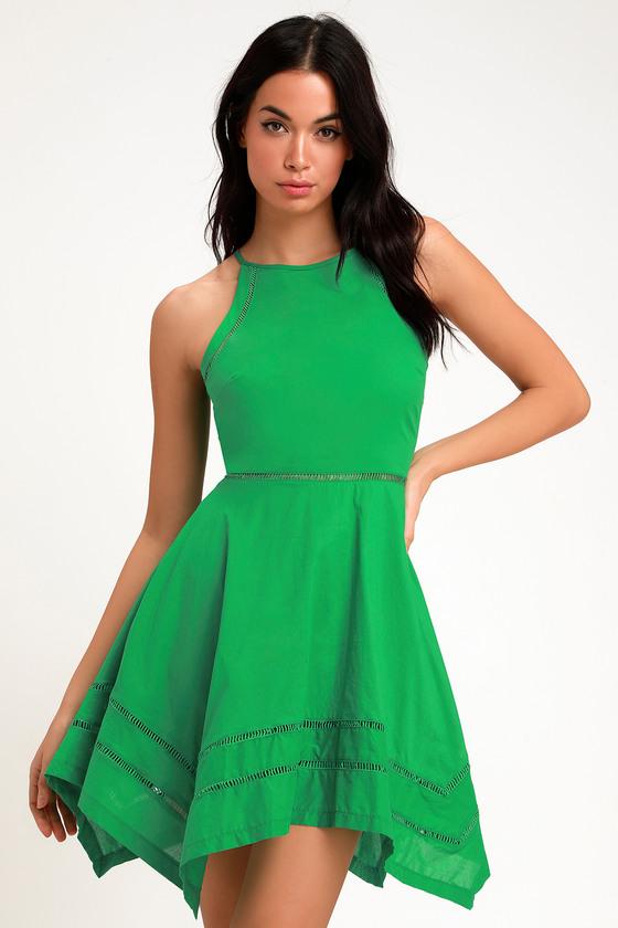 9b0771da46 Pretty Green Dress - Green Skater Dress - Crochet Trim Dress