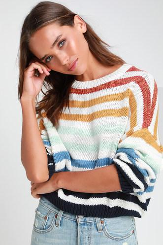 4d81bdaa7fa Charli Blue Multi Striped Knit Sweater