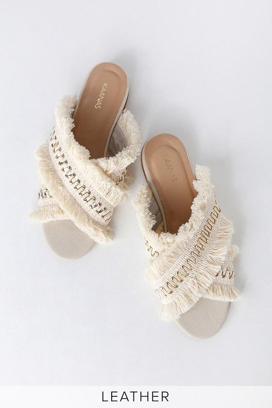 19b01b1fee8a KAANAS Ibizia - White Sandals - Fringe Sandals - Flat Sandals