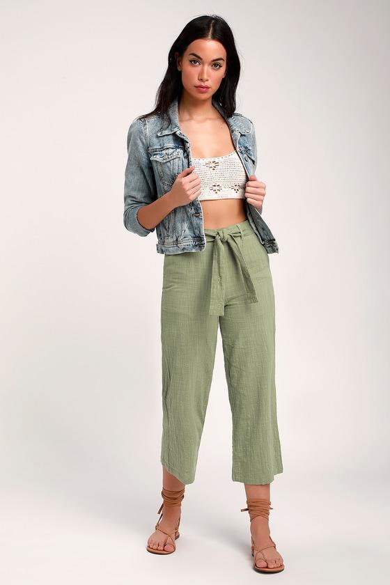 338b039f9f Rhythm Malta - Sage Green Pant - Wide-Leg Pants - Cropped Pants