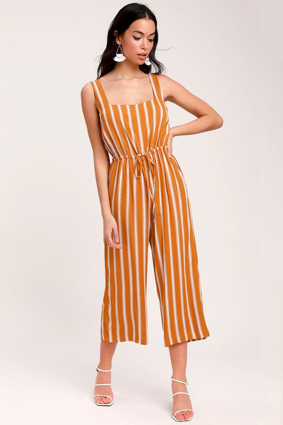 e98d17983a67 Orange and White Jumpsuit - Striped Jumpsuit - Culotte Jumpsuit