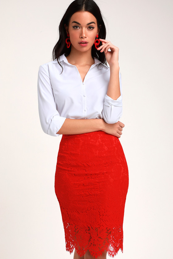 e53c82e1e22 Chic Red Skirt - Red Lace Skirt - Red Lace Pencil Skirt