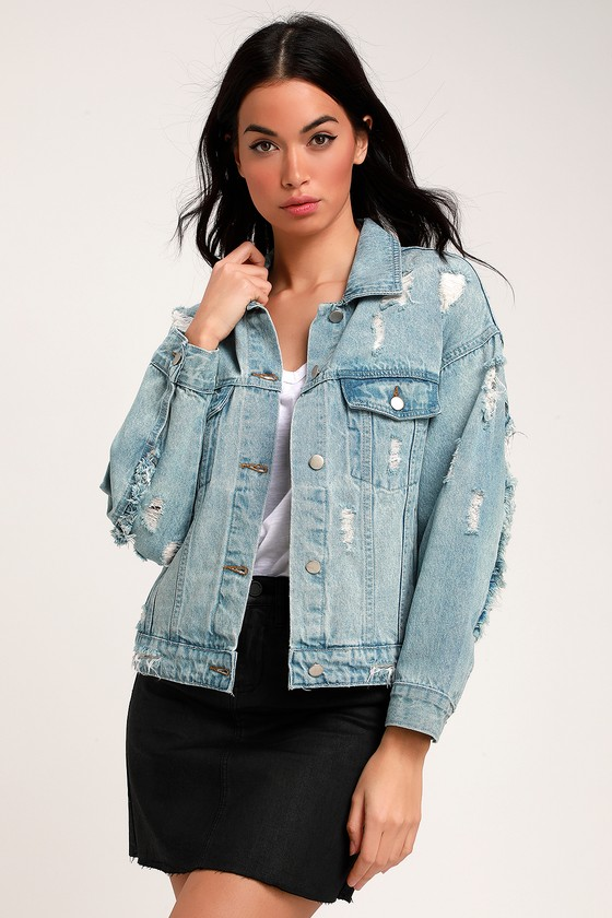 2939a339c3d8 Cute Light Wash Denim Jacket - Oversized Jacket - Jean Jacket